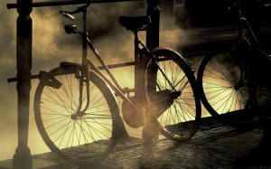 bicycle in the fog
